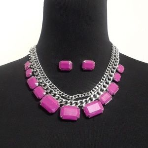 Jewelry - 50% OFF CUTE Purple Necklace and Earring set 💜